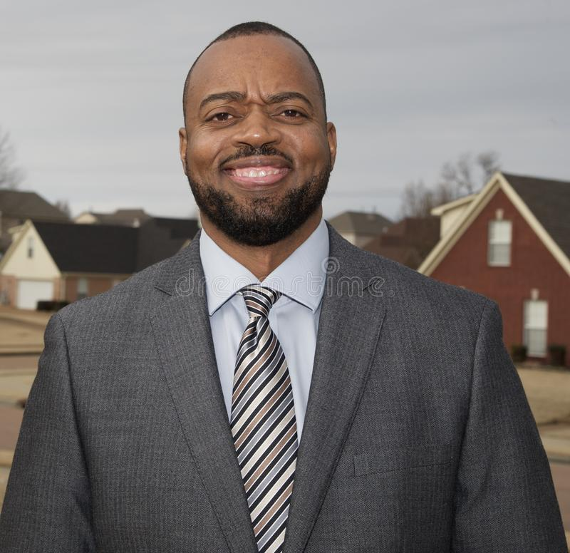 Real Estate Agent. Neatly dressed and ready to sell homes stock photo