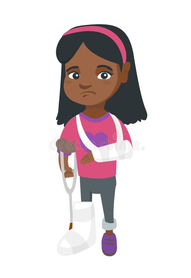 African sad injured girl with broken arm and leg. African-american sad injured girl with broken arm and leg in gypsum. Full length of upset injured little girl stock illustration