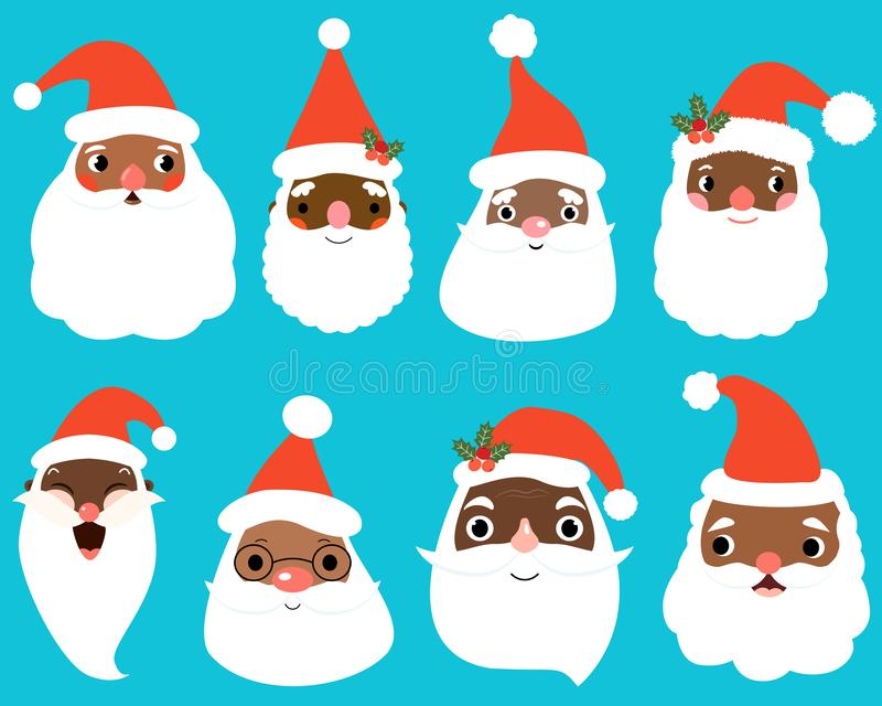 Cute African American Santa Claus faces for Christmas and holiday graphic design stock illustration