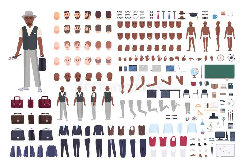 African American school art teacher creation set. Collection of male body parts in different poses, clothes isolated on royalty free illustration