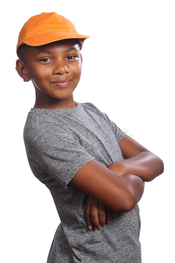 African American school boy folded arms smiling royalty free stock photos