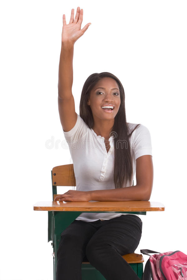 African American schoolgirl raised hand in class royalty free stock images