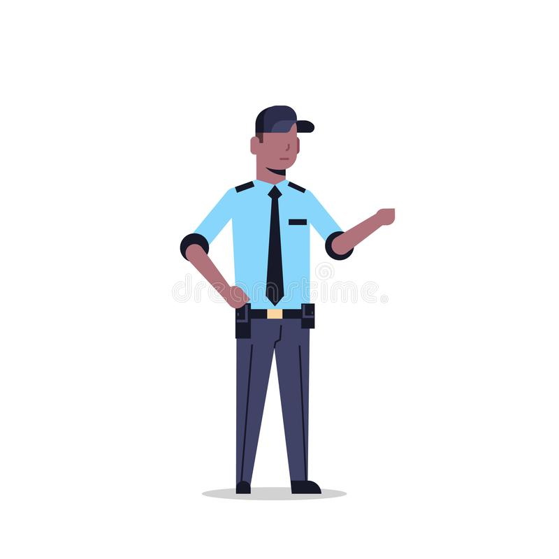 African american security guard man in uniform point to something police officer male cartoon character full length flat. Isolated vector illustration stock illustration