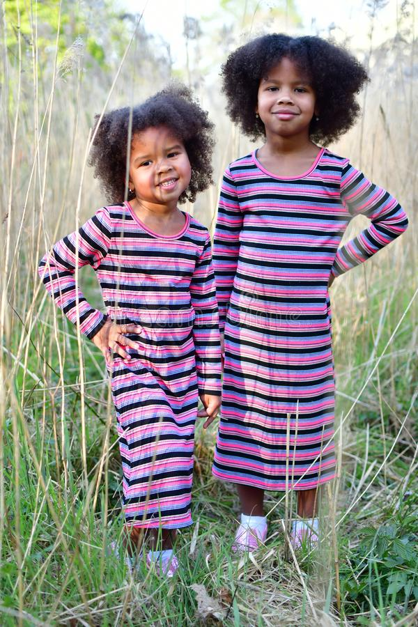 Free African American Sisters Are Playing In High Dry Grasscurly African American Sisters In Dance Dresses On The Grass And Bushes Of Royalty Free Stock Images - 148571139