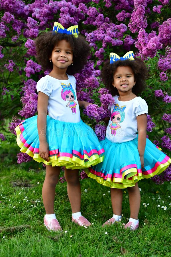 African American sisters are playing in the park curly African American sisters in dance dresses on the grass and bushes of lilac. African American sisters are stock photography