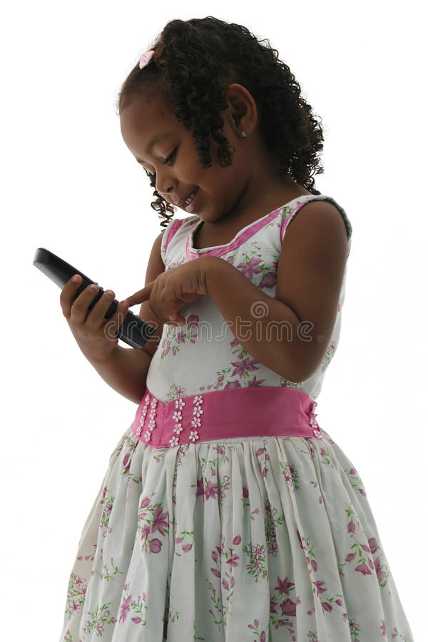 African American Small Girl in Dress with Phone