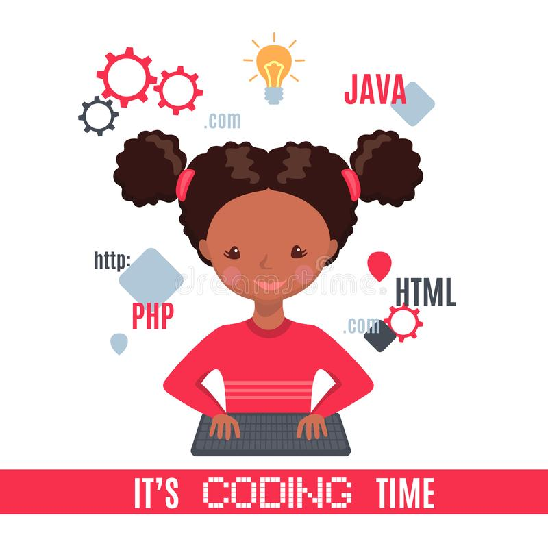 African American Smiling girl sitting at laptop and learning coding stock illustration