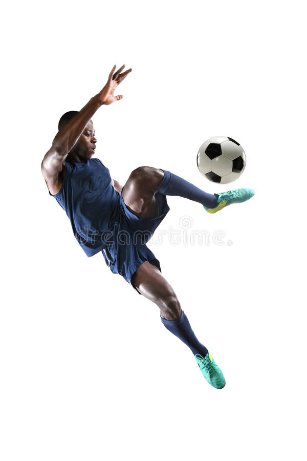 African American Soccer Player. Playing isolated over white background stock images