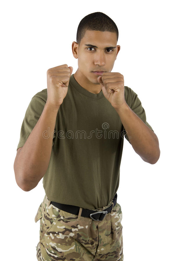 African American Soldier holding up fists. African American male serviceman in fighting stance stock photos