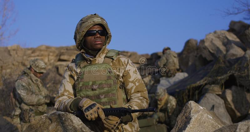 African american soldier wearing sunglasses royalty free stock image