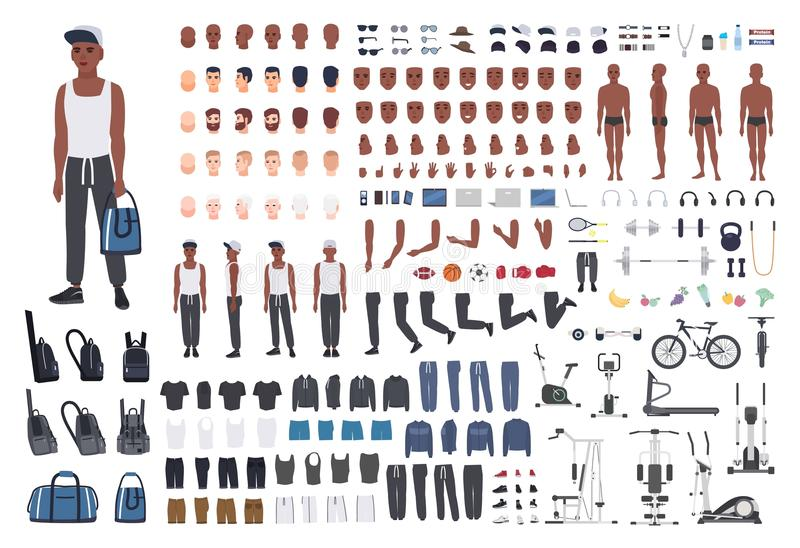 African American sportsman or male athlete DIY or animation kit. Bundle of man`s body elements, sports apparel, training royalty free illustration