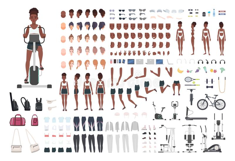 African American sportswoman or female athlete DIY or animation kit. Set of slim girl`s body parts, sports apparel, gym vector illustration