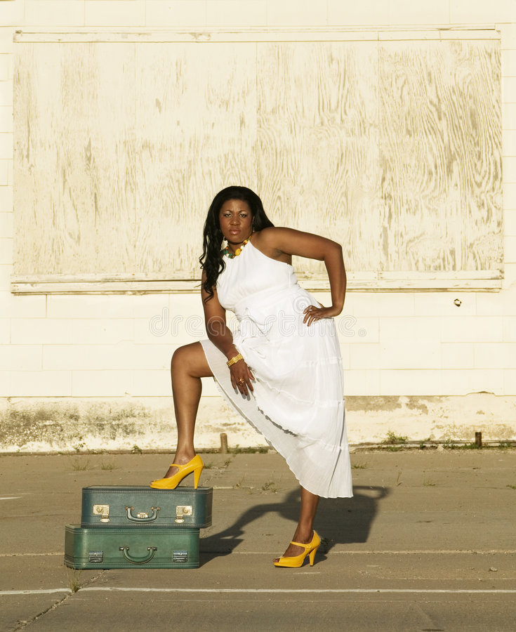 African American with suitcase royalty free stock photography