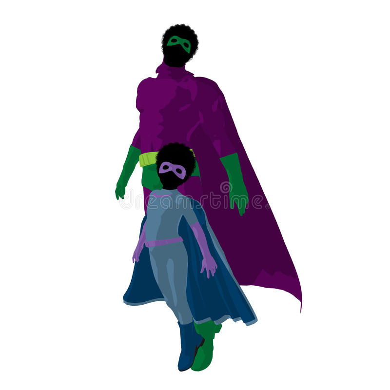African American Super Hero Dad Illustration