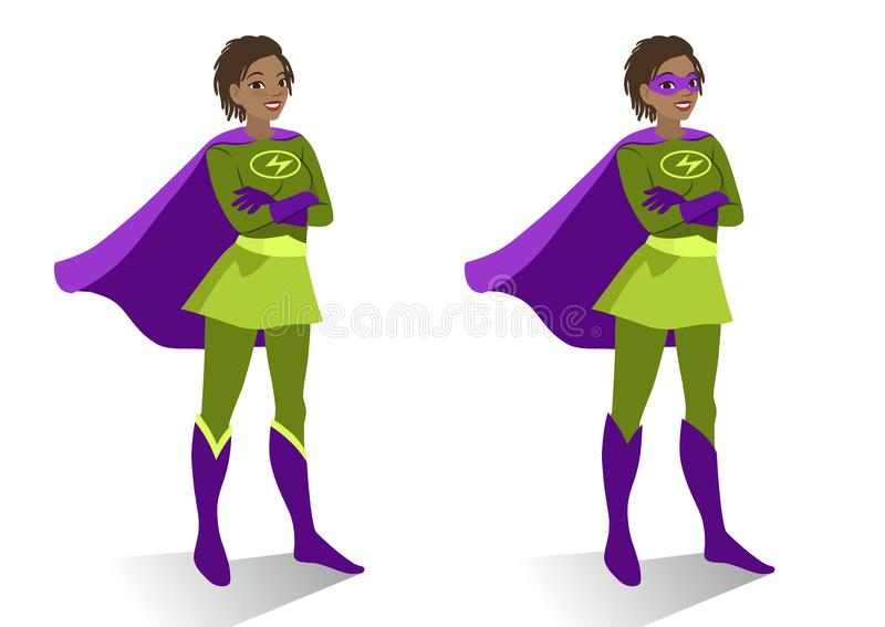 African American superhero woman in costume and mask standing. With crossed arms. Vector cartoon character illustration in flat contemporary style isolated on vector illustration