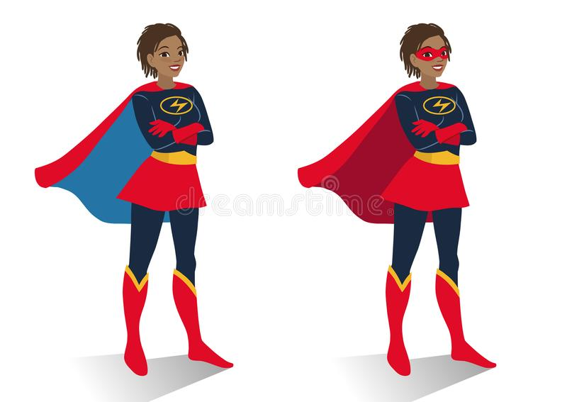 African American superhero woman in costume and mask standing. With crossed arms. Vector cartoon character illustration in flat contemporary style isolated on stock illustration