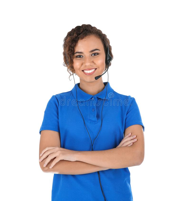 Free African-American Technical Support Operator With Headset On White Stock Images - 137236644