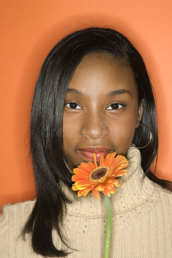 African-American Teen Girl Holding Flower Royalty Free -8922
