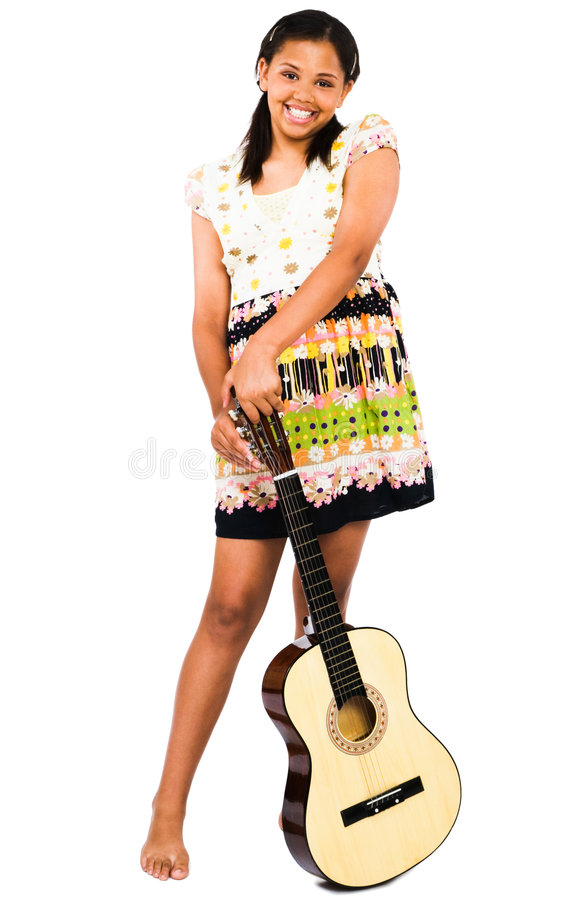 African American Teenage Girl Holding Guitar stock photography