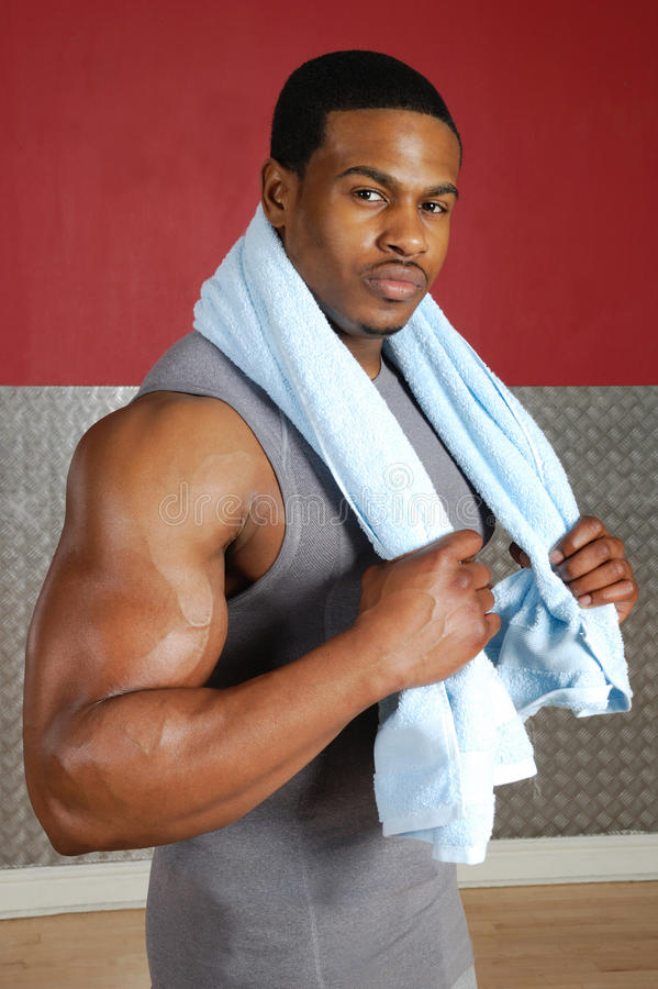 African American Trainer With Towel Royalty Free Stock Images