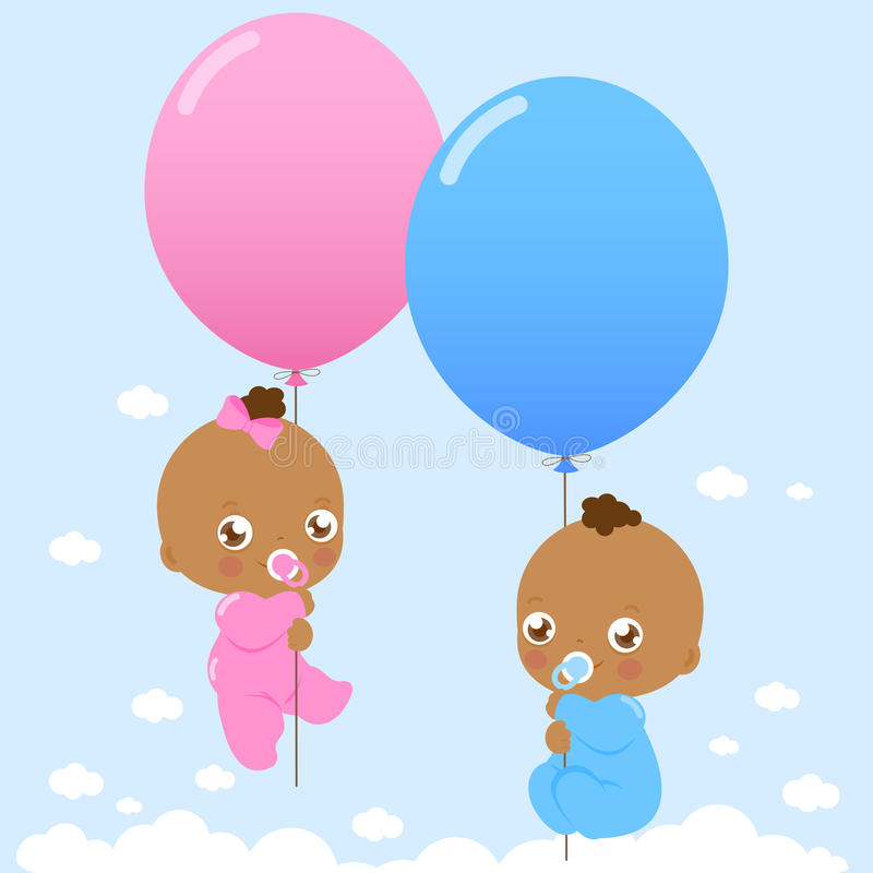 African American twin babies holding balloons. Vector Illustration of cute newborn twin girl and boy black babies flying in the sky holding balloons vector illustration