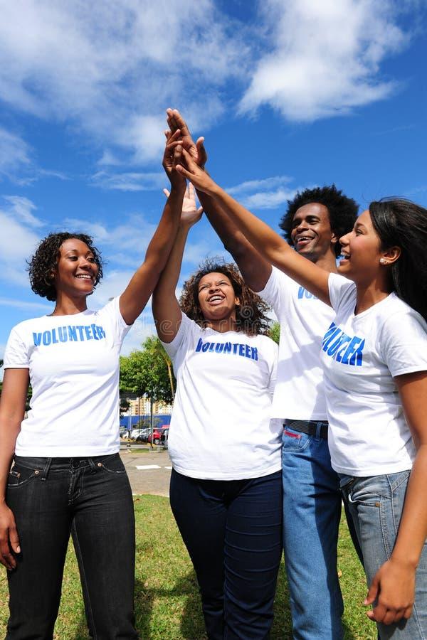 African american volunteer group stock photos