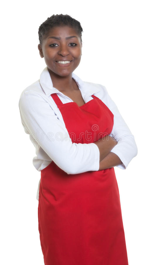 African american waitress with crossed arms. On an isolated white background for cut out stock image