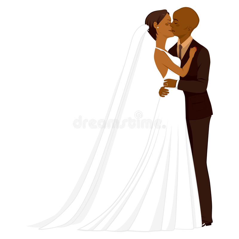 African American Wedding Couple Kissing. Beautiful young African American couple tenderly kissing on their wedding day royalty free illustration