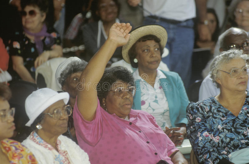 African-American woman. Asking a question at the 1992 Presidential campaign speech, East Cleveland, OH stock image