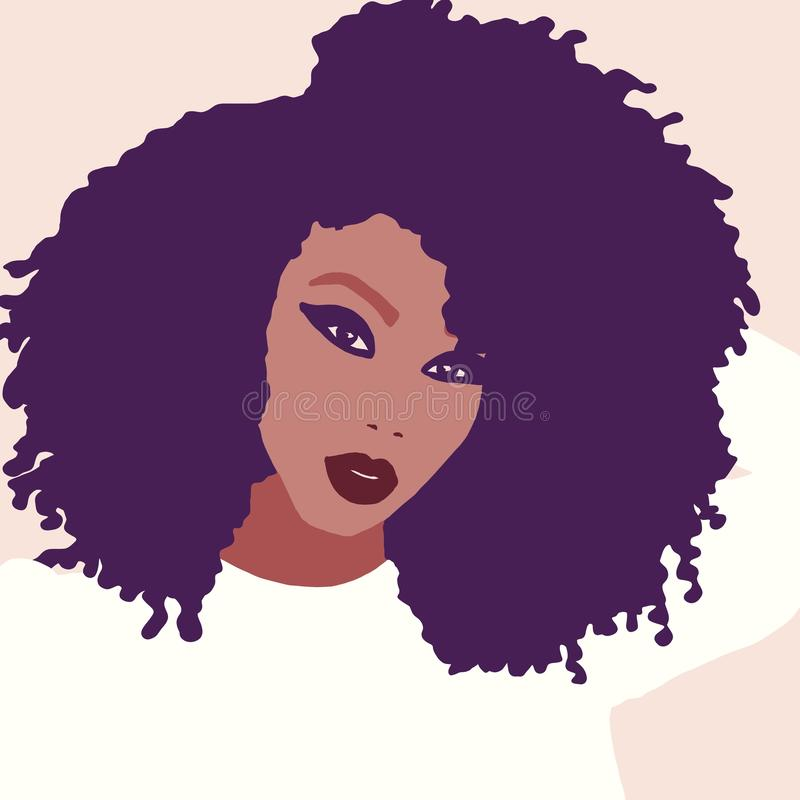 African american woman with big afro hair colorful portrait illustration vector illustration