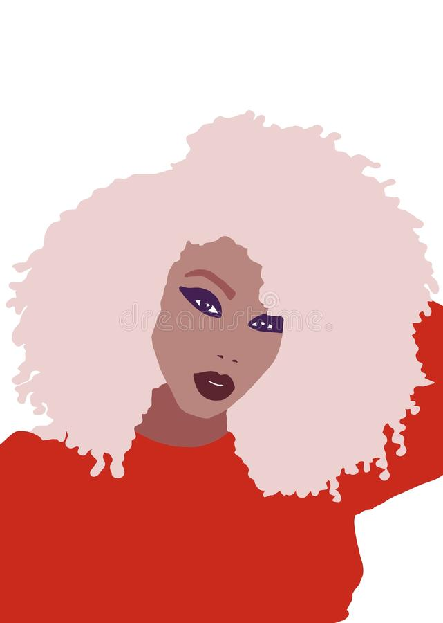 African american woman with big afro hair colorful portrait illustration royalty free illustration