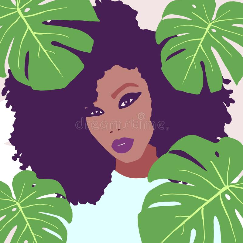African american woman with big afro hair colorful portrait illustration stock illustration