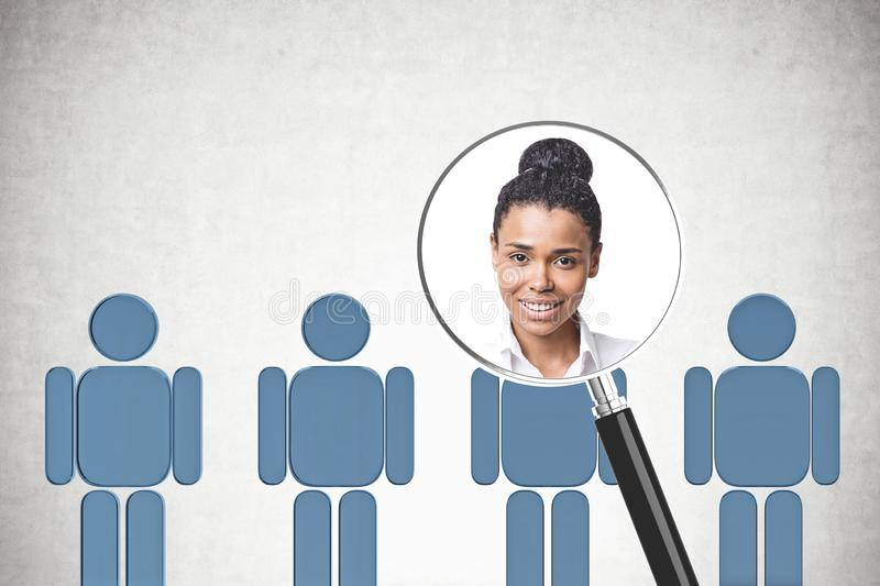 African American woman candidate for job choice. Portrait of African American businesswoman in magnifying glass over row of blue human figures in concrete room vector illustration
