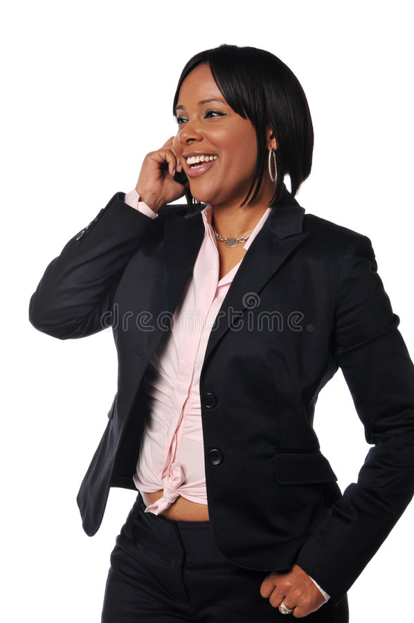 African American woman on the cell phone royalty free stock image