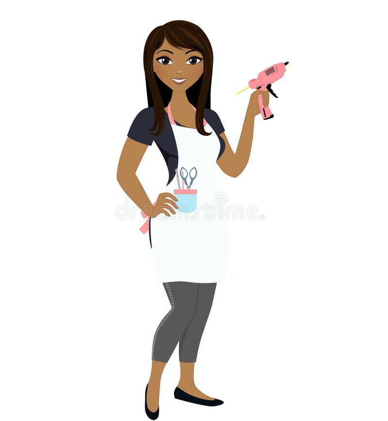 Free African American Woman Crafter With Glue Gun Stock Photography - 141408232