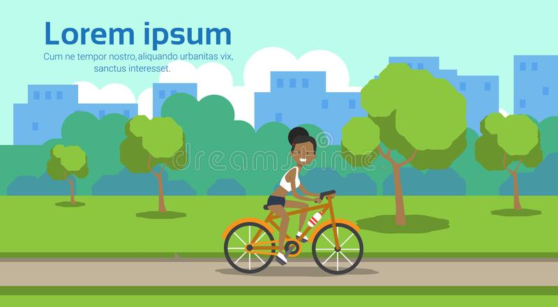 African american woman cycling city park green lawn trees template landscape background copy space horizontal flat. Vector illustration vector illustration