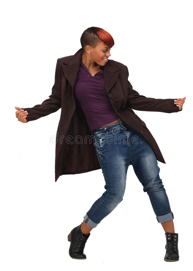African American Woman Dancing to the Music royalty free stock photos