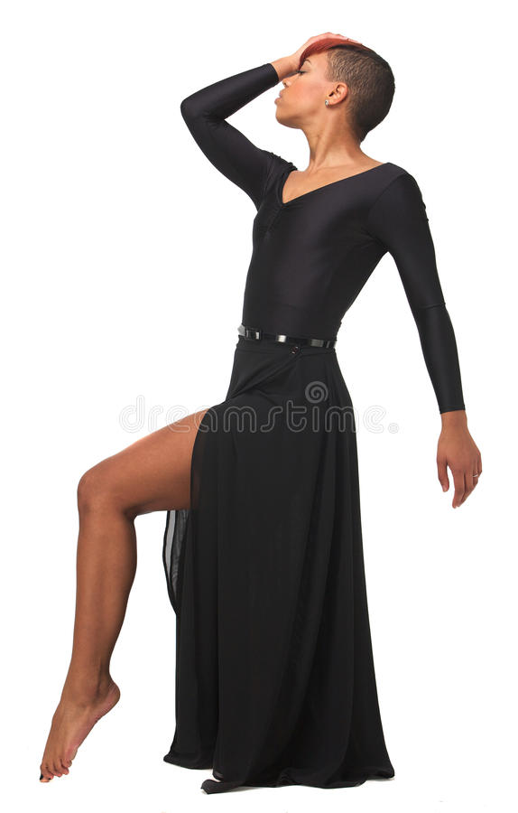 African American Woman Elegant Dance Pose royalty free stock photo