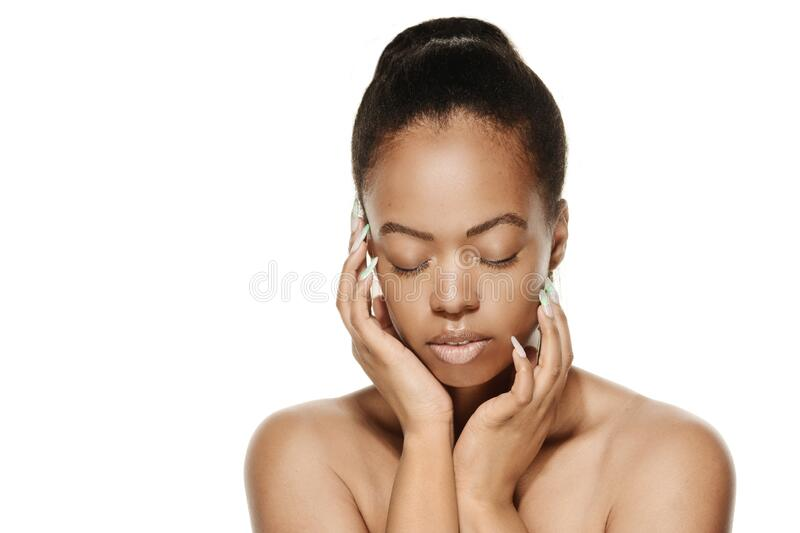 African American Woman Face, Hands, Beauty and Skin Care model royalty free stock photo
