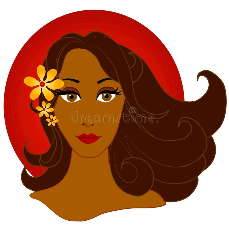 African American Woman Flowers royalty free illustration