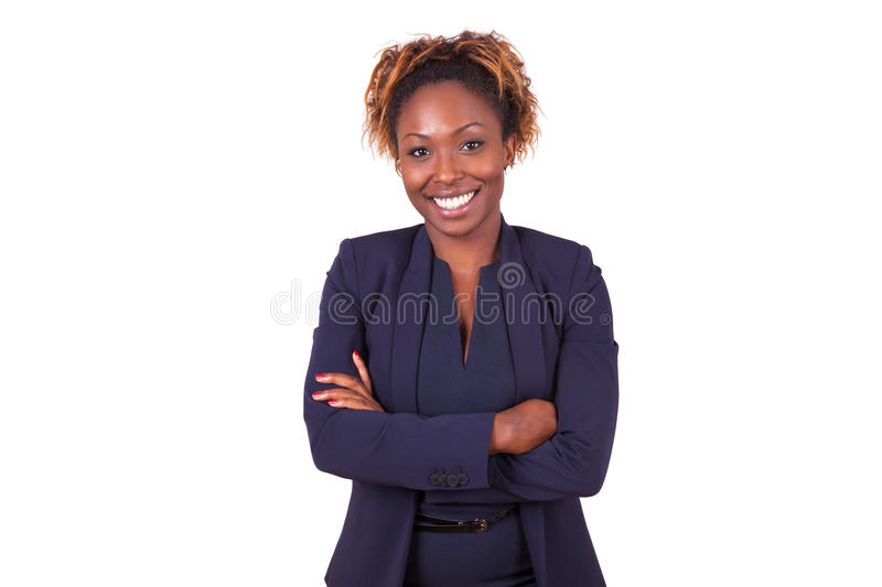 African American woman with folded arms, isolated on white backg. Round - Black people stock photography