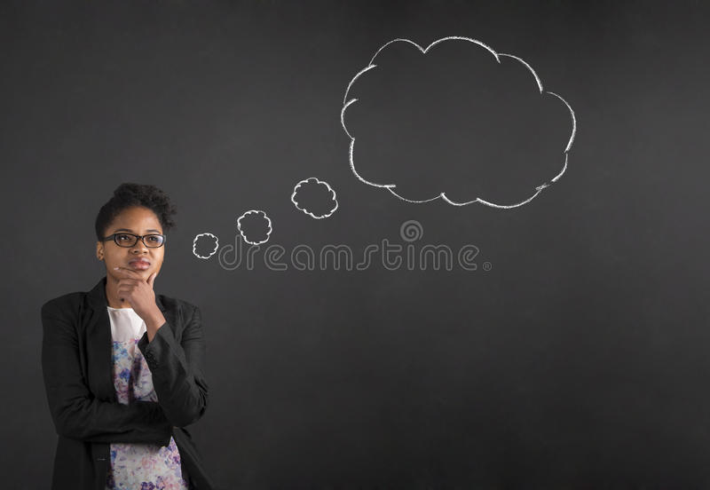 African American woman with hand on chin thinking thought bubble on blackboard background royalty free stock photo
