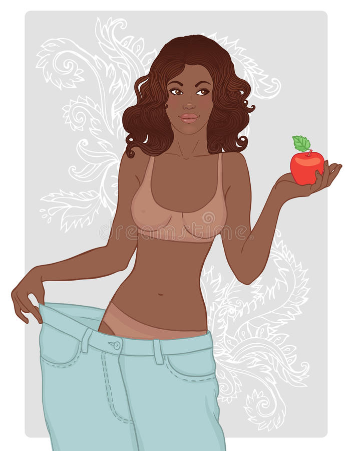 African american woman in her old jeans vector illustration