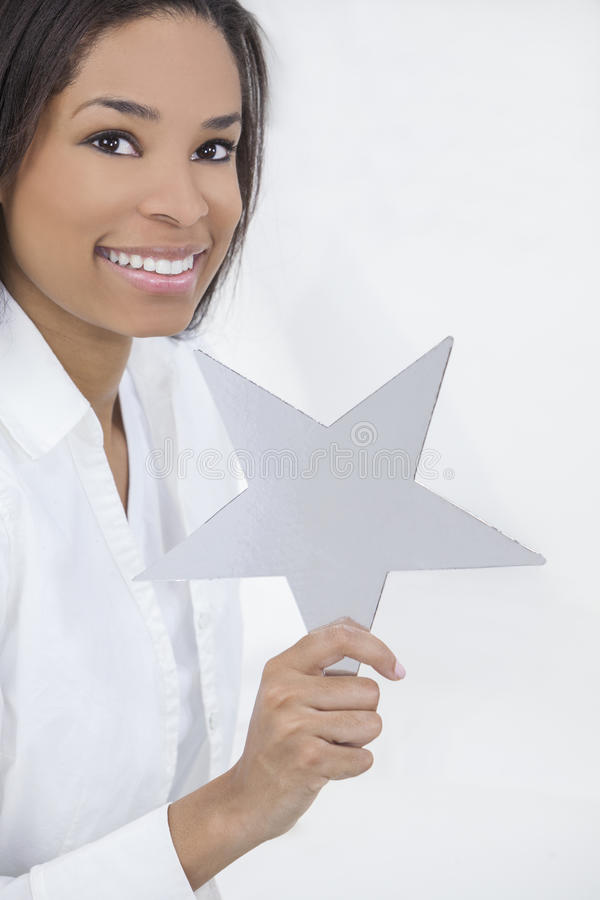 Download African American Woman Holding SIlver Star Stock Photography - Image: 26240162