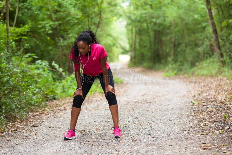 African american woman jogger portrait  - Fitness, people and healthy lifestyle stock photo