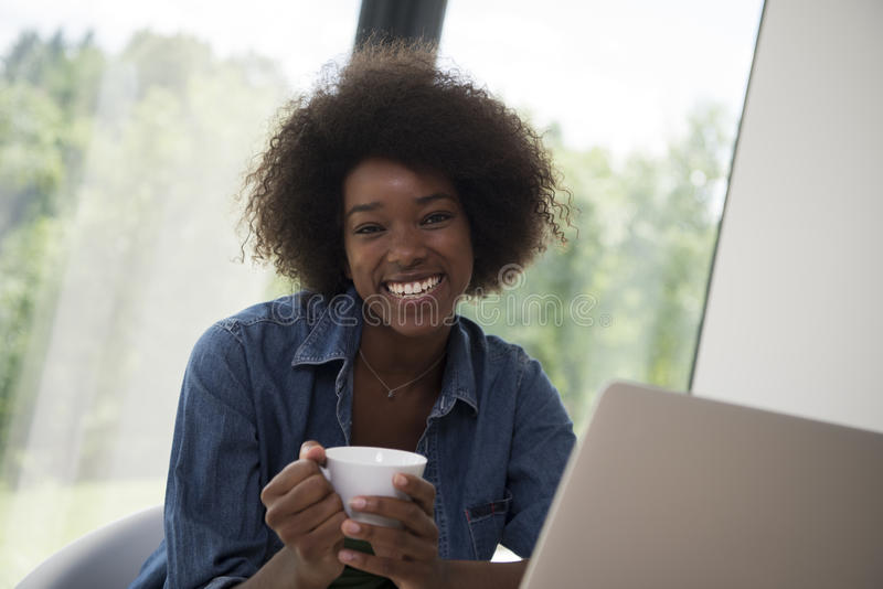 Download African American Woman In The Living Room Stock Photo - Image: 83703229
