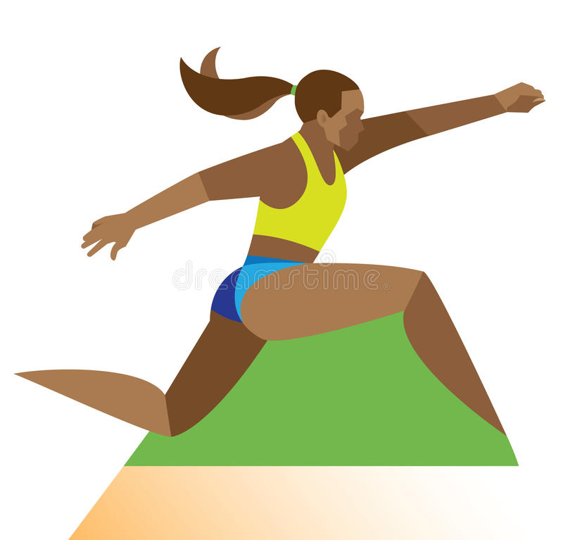 African-American woman is a long jumper stock illustration
