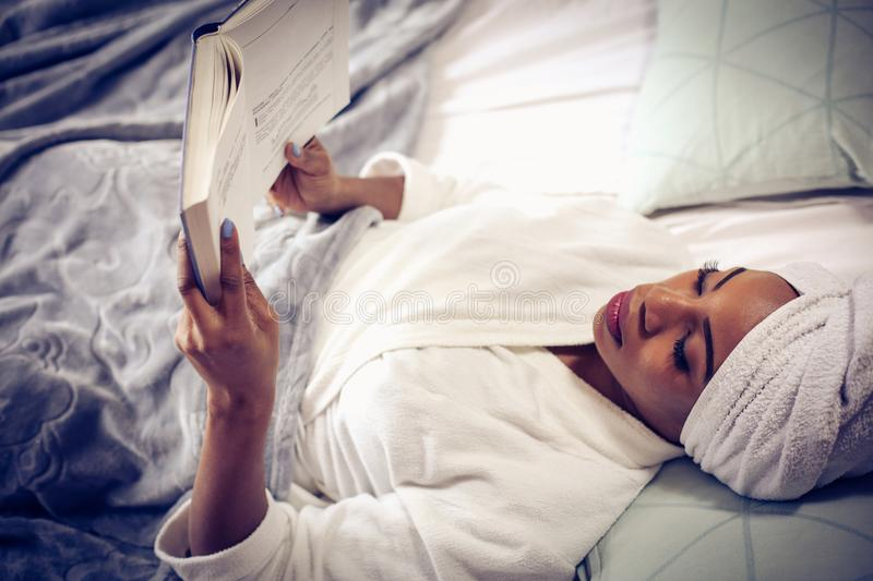 Morning starts with good book. stock images
