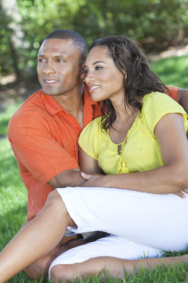 African American Woman & Man Couple Outside stock images