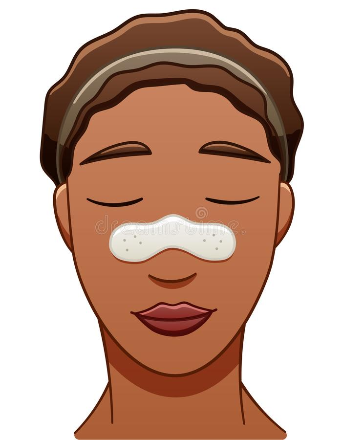 African American woman with nose pore strip. African American brown-haired smiling woman with nose pore strip. White backgroun stock illustration
